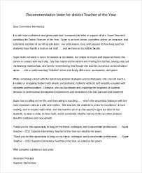 Recommendation Letter For Teacher Of The Year
