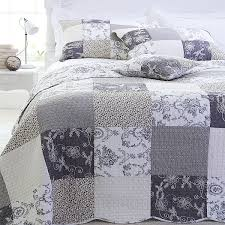 Sashi Bed Linen Riviera Toile Patchwork 100% Cotton Quilted ... & Sashi Bed Linen Riviera Toile Patchwork 100% Cotton Quilted Bedspread, Grey Adamdwight.com