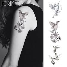 Us 039 15 Offnew Black Hummingbird Temporary Tattoo Stickers Women Arm Pencil Sketch Waterproof Tatoos Girls Forearm Birds Fake Tattoo Flower In