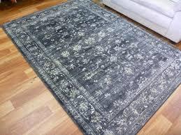 persian design floor area rugs runner chorus charcoal grey allover soft feel