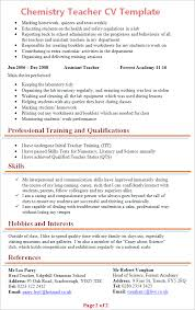 Student Teacher Resume Template Best Chemistry Teacher CV Template Tips And Download CV Plaza