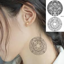 Vankirs Black Geometric Moon Women Ear Tattoo Sticker Body Arm Tattoos Temporary Triangle Compass Totem Fake Tatoos Makeup Tips