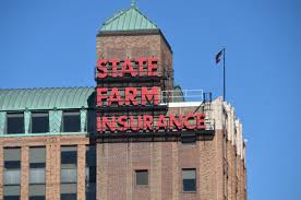 the iconic state farm insurance building in downtown bloomington
