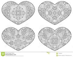 set of decorative hearts vector template mandala for decorating greeting cards of valentine s day coloring books print for t shirt and textile