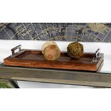 Decorative Serving Trays With Handles Brown Rectangular Tray with Silver Stainless Steel Handles100 94