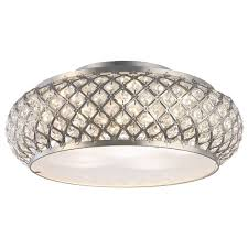 Home Depot Ca Outdoor Lighting Winvian 6 Light Brushed Stainless Steel Led Flushmount Ceiling Light With Crystal Accents