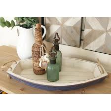 litton lane distressed white wooden boat shaped decorative trays set of 2