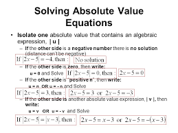 solving absolute value equations