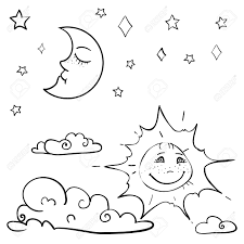 hand drawn vector children s coloring book with moon sun cloud stars vector