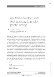 Pdf An Athenian Nocturnal Archaeology A Photo Poetic Essay