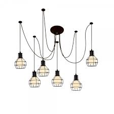 cult living spider chandelier pendant lights with wire cage black