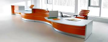 office orange. Orange And White Reception Desk Office