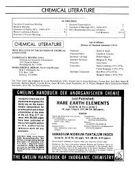 Chemical Literature Volume 25 Number 2 Fall 1973 Page 2