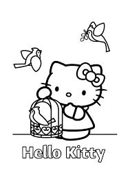 Hello Kitty Met Vogeltjes Hello Kitty Kleurplaten Kleurplaatcom