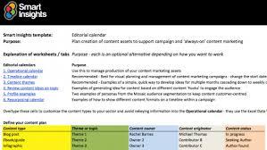 Editorial Calendar Spreadsheet Smart Insights