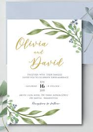 Watercolor Leaves Wedding Invitation Downloadable Wedding