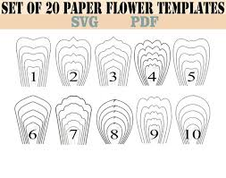Giant Paper Flower Svg All 20 Pdf Svg Diy Giant Paper Flower Template Etsy