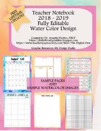 Teacher Organizer Planner Watercolor Teacher Notebook Organizer Planner 2019 2020 Free Updates