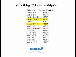 Golf Club Tip Size Chart Golf Club Sizing Information