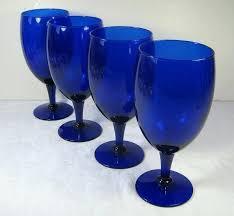 vintage cobalt blue goblet glassware royal set 4 by goblets libbey glasses