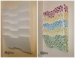 A DIY stenciled Ikea magazine rack using the Zamira card size stencil.  http:/