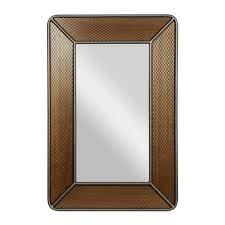 brown wood industrial wall mirror 68637