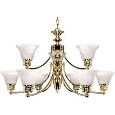 glomar 9 light polished brass chandelier with alabaster glass bell shades