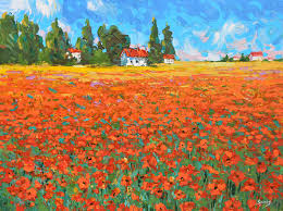 contemporary fineart wall art field with poppies original oil with palette knife painting by