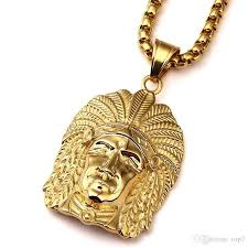 2018 new gold tone native american indian chief head portrait pendant necklace with 27 5 inch chain men women hip hop jewelry