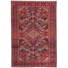 modern red geometric persian kashan rug for