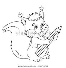 coloring page outline of cartoon squirrel with pencil coloring book for kids