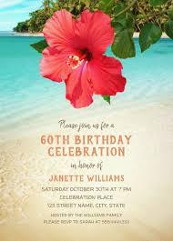 Tropical Beach Hawaiian Themed 60th Birthday Invitations Hibiscus