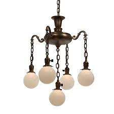 antique colonial revival chandelier with glass globes early 1900s