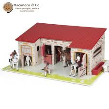 the le wooden horse barn playset for toy figurines