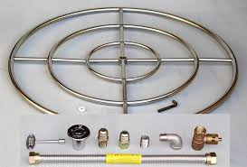 36 stainless steel fire pit burner ring kit natural gas fireglass gaslogs