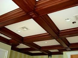 wood kitchen coffered ceiling