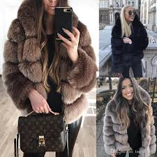 2019 vintage faux fur coat hooded women short furry fake fur winter designer thick warm outerwear jacket casual party overcoat from tangcaixia