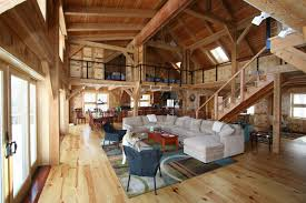 Pole Barn Houses With Microfiber Sectional Couch With Chaise And Area Rug  Also Wood Flooring With Sliding Glass Door And Staircase Plus Pole Barn  House Kits ...