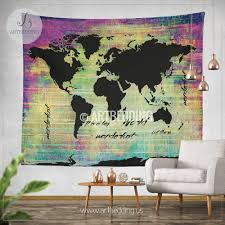 bohemian world map watercolor wall tapestry grunge world map wall