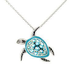 sea turtle enamel white sapphire silver necklace