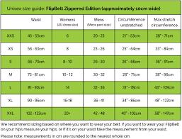 Flipbelt Australia Unisex Size Guide