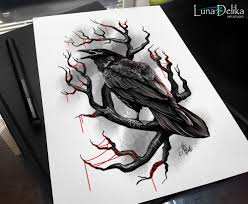 Tattoo Sketch Black Crow Made To Oder By Natali Hall