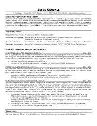 Lab Technician Resume Objective Computer Technician Resume Example