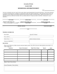 Personal Information Sheets Personal And Financial Information Sheet Florida Elder