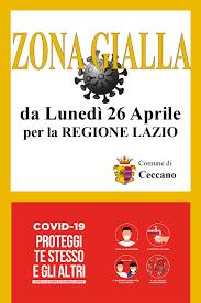 Covid-19 - Regione Lazio Zona GIALLA da Lunedì 26 Aprile 2021