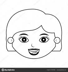 髪短いと正面顔の女の子シルエット ストックベクター Grgroupstock
