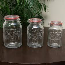 country classic 3 piece glass preserving and storage jar set with wire ball and trigger