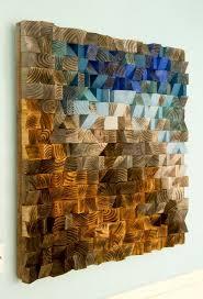rustic wood holz wand kunst modern 3d abstrakt dünne holzstreifen handgemalt