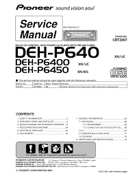 pioneer deh p6400 wiring diagram solution of your wiring diagram pioneer deh p640 deh p6400 deh p6450 rh smanuals com pioneer deh p6400 wiring diagram pioneer deh 11 wiring diagram