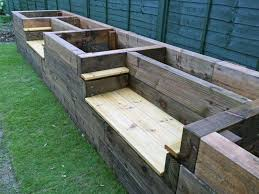 raised beds with bench seats and arm wrest backyard fire pit planter seat bench